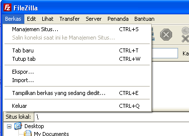 Sub Menu File Pada Filezilla